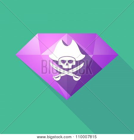 Long Shadow Diamond Icon With A Pirate Skull