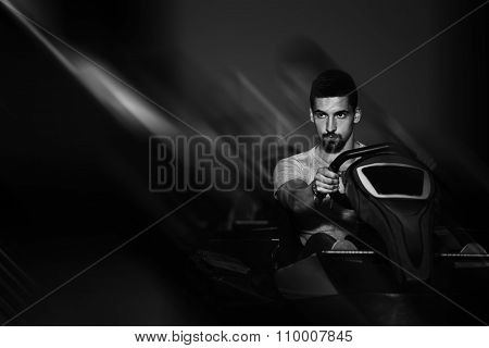People Is Driving Go-kart With Speed In Karting