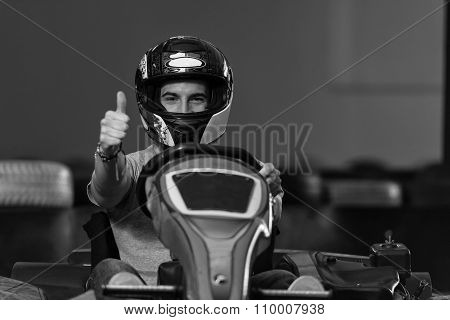 Man Showing Thumbs Up For Karting Race