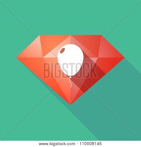Long Shadow Diamond Icon With A Balloon
