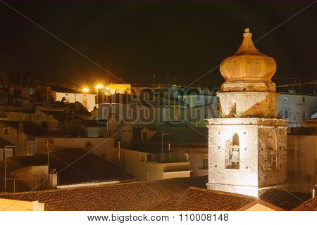 Historical city night view with various houses and roofs