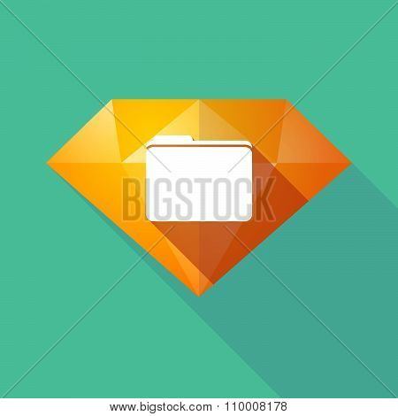 Long Shadow Diamond Icon With A Folder