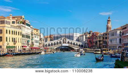 Gondola At The Rialto Bridge In Venice
