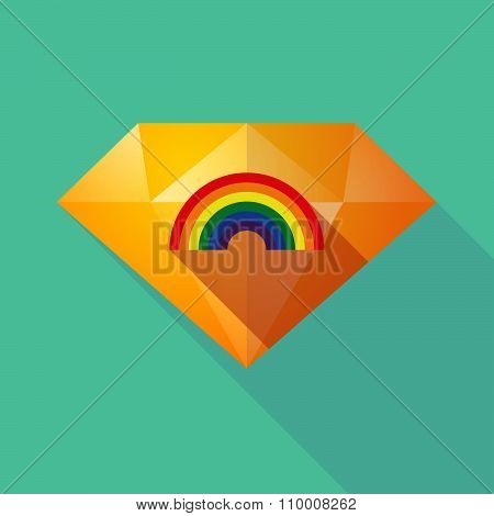 Long Shadow Diamond Icon With A Rainbow
