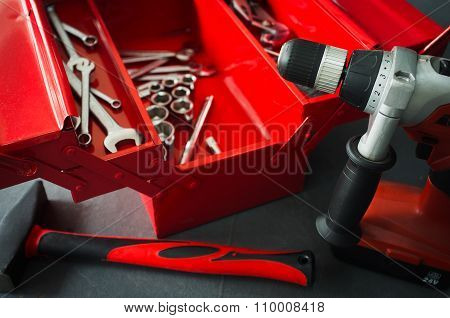 Red Toolbox With Wrench Tools On Workshop