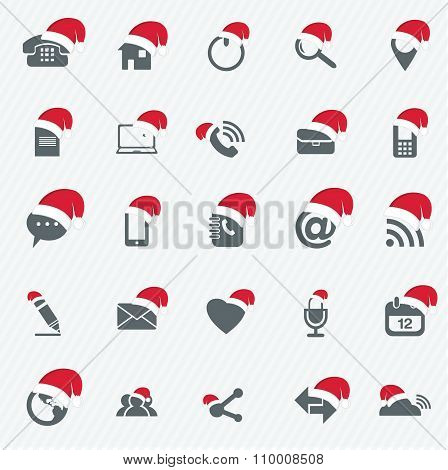 Universal Outline Icons For Web And Mobile With Christmas Hat