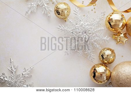 gold christmas ornaments frame background , seasonal decoration