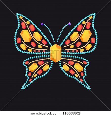 Butterfly From Shiny Colored Gems