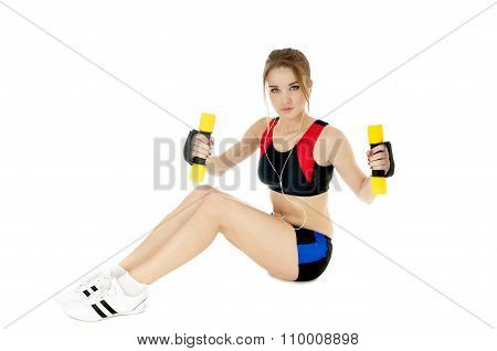 Sports Girl  Exercising With Dumbbells On White Background. Healthy Lifestyle Concept.