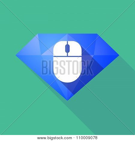 Long Shadow Diamond Icon With A Wireless Mouse