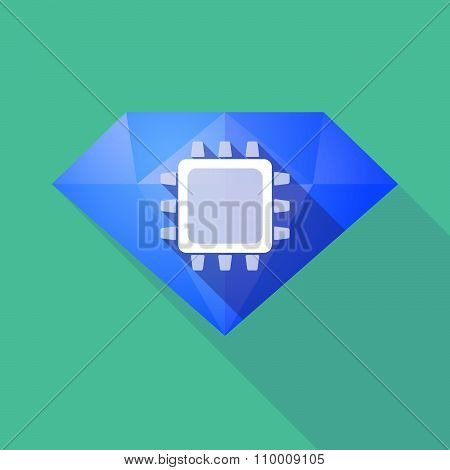 Long Shadow Diamond Icon With A Cpu