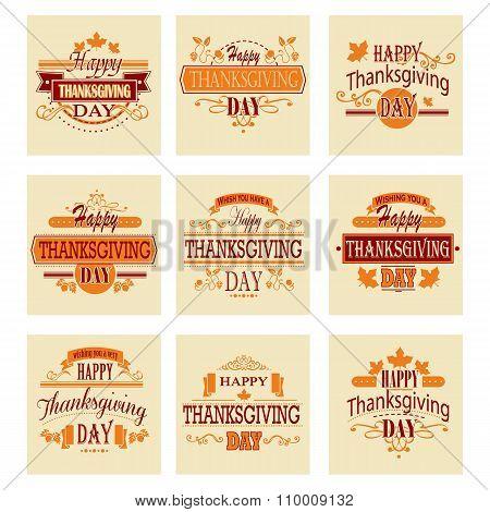 Typographic Thanksgiving Design Set. Vector illustration