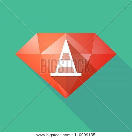 Long Shadow Diamond Icon With A Road Cone