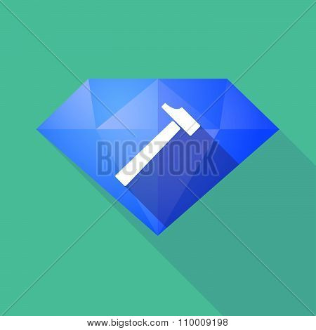 Long Shadow Diamond Icon With A Hammer