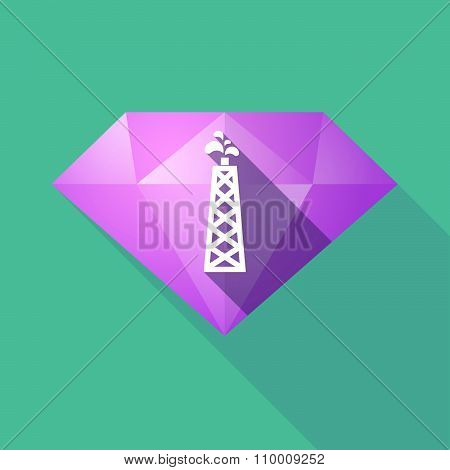 Long Shadow Diamond Icon With An Oil Tower
