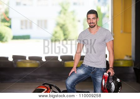 Man Is Driving Go-kart With Speed In Karting