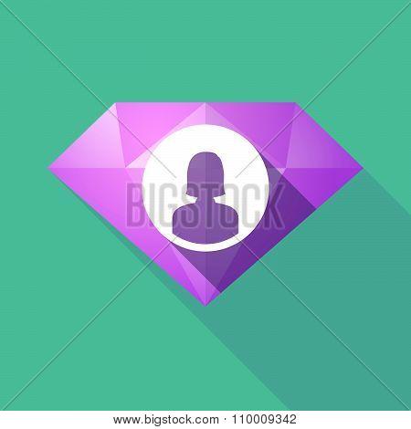 Long Shadow Diamond Icon With A Female Avatar