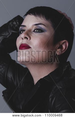 sexy grunge, sensual and rebellious girl with black leather jacket