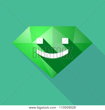 Long Shadow Diamond Icon With A Smile Text Face