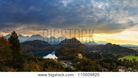 Alps And Lakes At Sunset In Germany