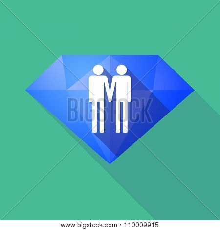 Long Shadow Diamond Icon With A Gay Couple Pictogram