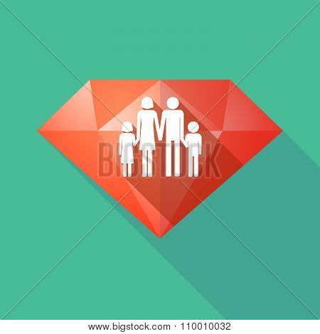Long Shadow Diamond Icon With A Conventional Family Pictogram