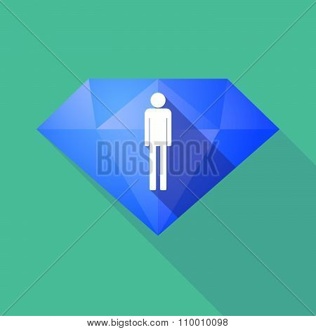 Long Shadow Diamond Icon With A Male Pictogram