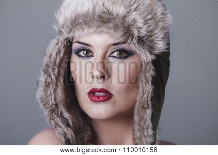 Scarf, naked girl with Russian winter hat, cold