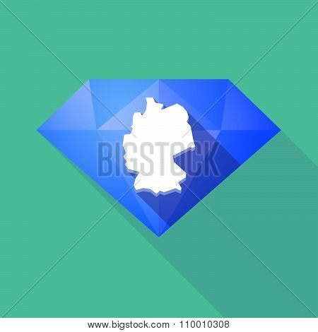 Long Shadow Diamond Icon With  A Map Of Germany