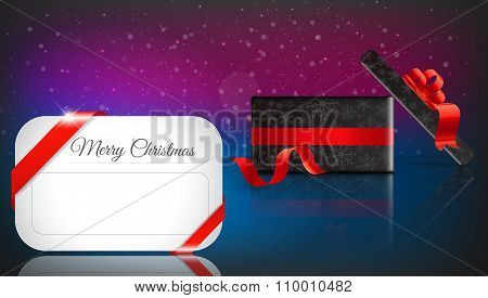 Christmas Gift On color Background With Snow And Snowflakes. Merry Christmas Vector Illustration. Ep