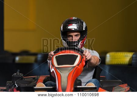 Young Man Driving Go-kart Karting Race
