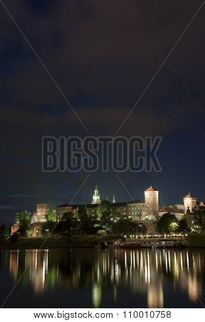 Poland, Krakow, Wawel Royal Castle Lit-up