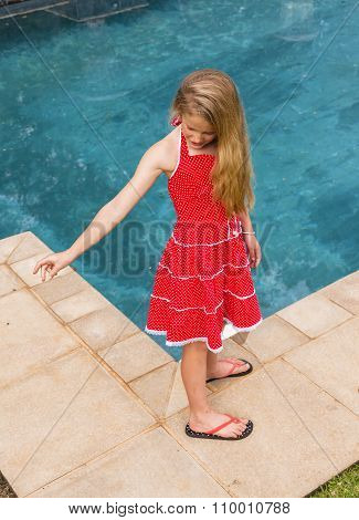 Girl Young Red Dress Pool