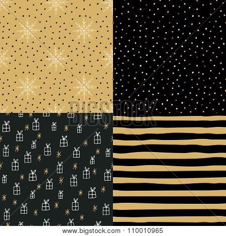 Collection Of Hand Drawn Winter Holidays Seamless Patterns