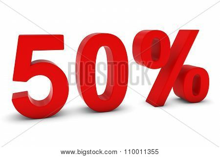 50% - Fifty Percent Red 3D Text Isolated On White