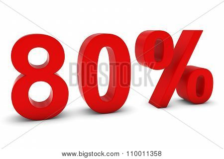 80% - Eighty Percent Red 3D Text Isolated On White