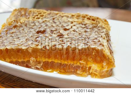 Honey In Honeycomb In White Plate