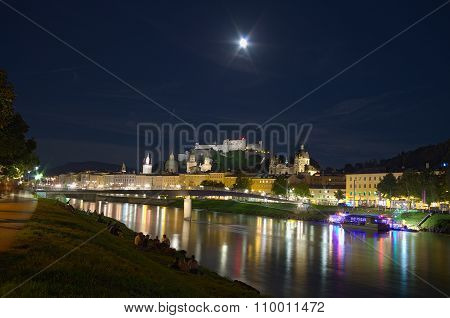 View of Salzburg by night, Austria