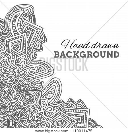 Monochrome Hand Drawn Background.