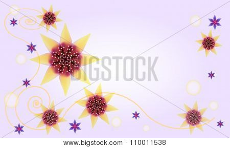 Abstract Floral Background  With Star-like Flowers