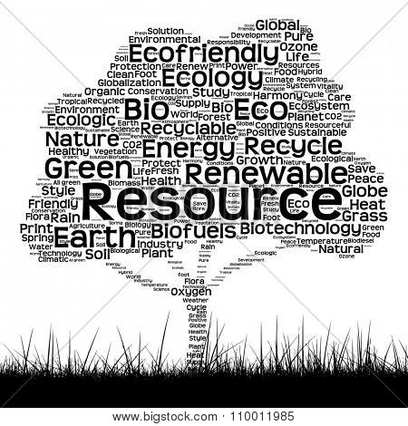 Concept or conceptual black ecology text word cloud as tree and grass isolated on white background for nature, ecology, green, energy, natural, life, world, global, protect, environmental or recycling