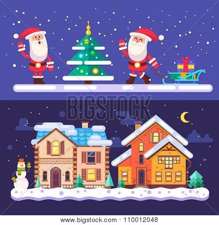 Pretty winter village landscape with snow covered houses and Santa Claus  Christmas time. Vector