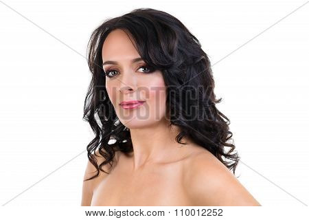 Beautiful Adult  Woman With Curly Hair And Evening Make Up Isolated