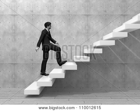 Concept or conceptual 3D man or  businessman climbing on a stair