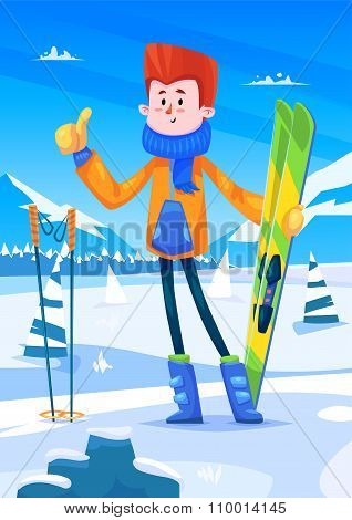 Ski resort holidays skier. Snow background. Flat vector illustration