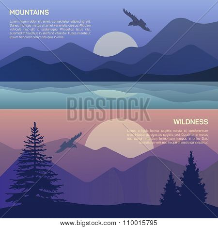 Vector illustration of landscape in north areas