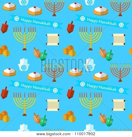 Happy Hanukkah Vector Seamless Pattern, With Dreidel Game, Coins, Hand Of Miriam, Palm Of David, Sta