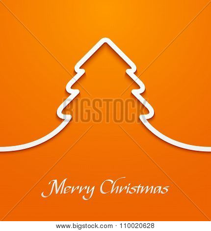 Orange abstract christmas tree applique