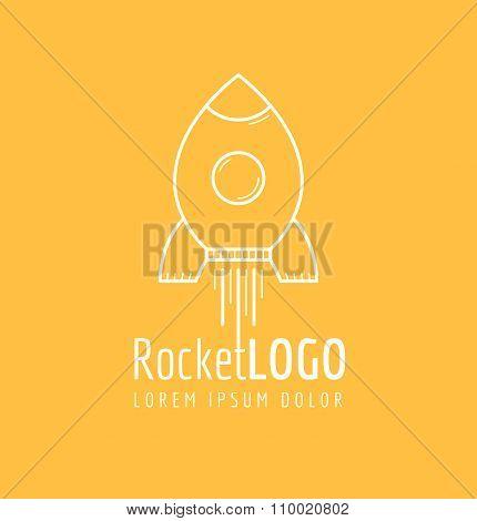 White outline rocket icon logo