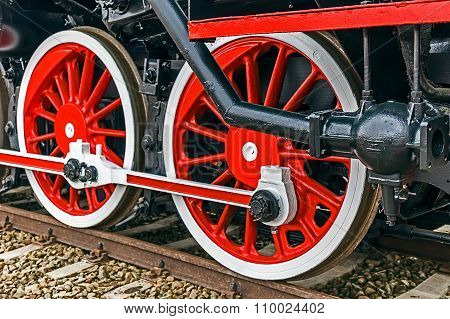 Detail And Close Up Of Huge Wheels At One Old German Steam Locomotive 11